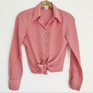 Vintage Red Gingham Plaid Top